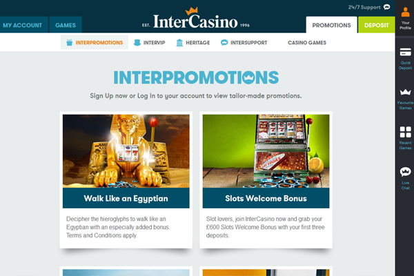 InterCasino screen shot